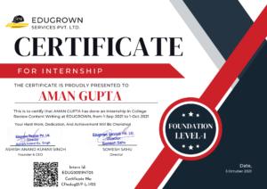 Aman gupta intern at edugrown-certificate